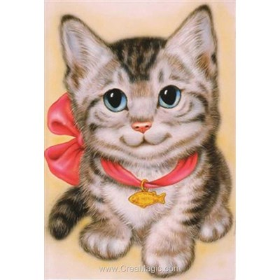 Kit broderie diamant Diamond Painting cat with ribbon