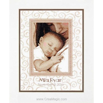 Tableau naissance au point croix peaceful baby birth record de Dimensions