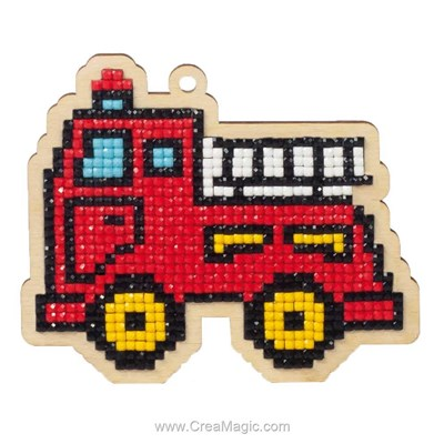 Broderie diamant camion pompier - Wizardi