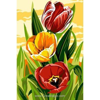 Canevas tulipes en jaune et rouge - SEG
