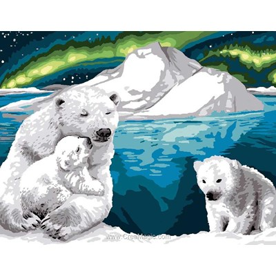 Ours blanc sous l'aurore australe canevas chez Luc Création