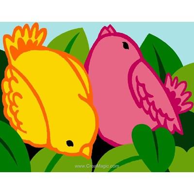 Canevas enfant en kit oiseaux jaune et rose - Margot