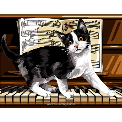 Chat mozart au piano canevas chez Margot
