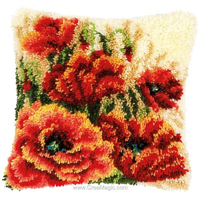 Kit coussin point noue coquelicots - Vervaco