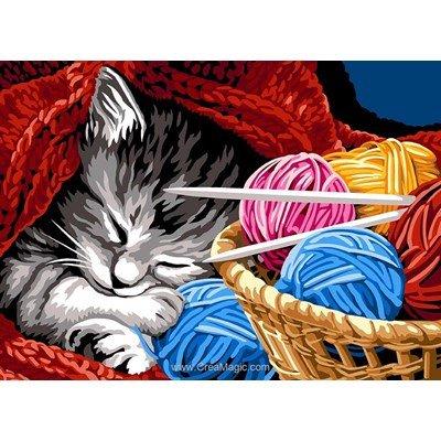SEG canevas la pause tricot du chat