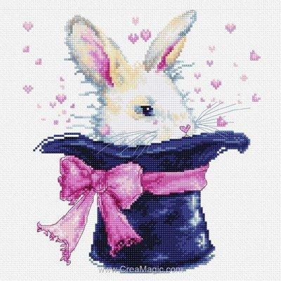 La broderie lapin dans le chapeau - Luca-S
