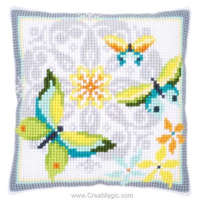 Kit coussin au point de croix papillons light - Vervaco