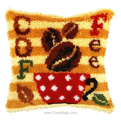 Kit coussin point noué grains de café d'Orchidea