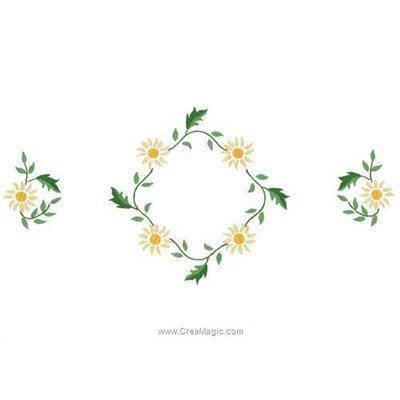 Kit napperon à broder fleurs du soleil en broderie traditionnelle imprimée - Luc Création