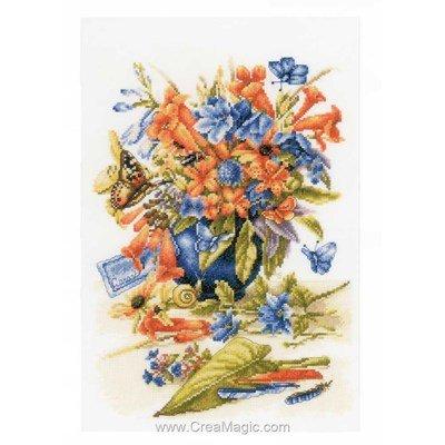 Broderie bouquet en bleu et orange - Lanarte