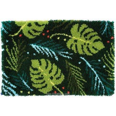 Kit tapis point noué feuilles exotiques de Vervaco