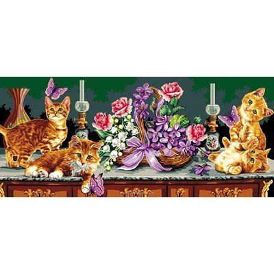 Mimo Verde canevas chats perchés et papillons