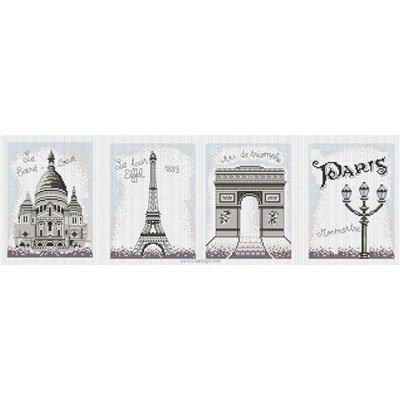 Broderie en point compté Princesse monuments de paris vintage