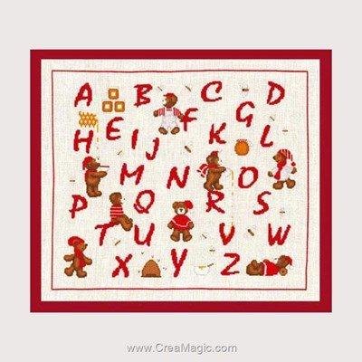 Point de croix Le Bonheur Des Dames abécédaire rouge oursons