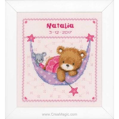 Kit point de croix bébé Vervaco ours dans le hamac - fille