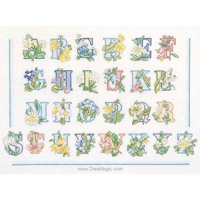 Modèle au point de croix alphabet des fleurs sur lin de Thea Gouverneur