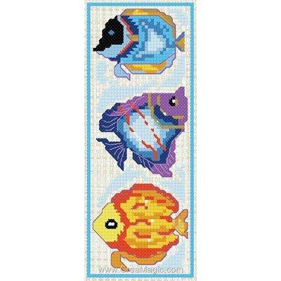 Marque page 3 poissons tropicaux à broder de Luc Création