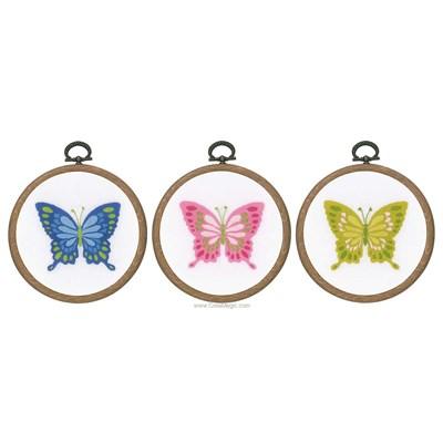 Broderie imprimée en kit papillons avec cerceau - lot de 3 de Vervaco