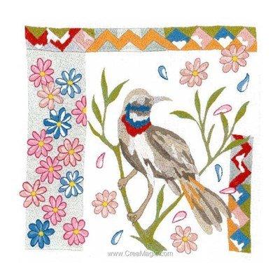 Broderie imprimée gorge-bleue à miroir - Bernadette Baldelli