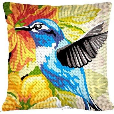 Coussin oiseau bleu exotique au demi point de SEG