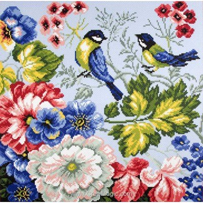 Kit broderie aida imprimée birds oiseaux - Collection d'art