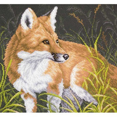 Kit broderie imprimée le renard fox sur aida - Collection d'art
