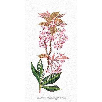 Kit tableau point de croix flowering cherry-lilly sur lin - Thea Gouverneur