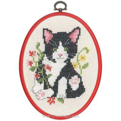 Petit chat noir tableau point de croix - Permin