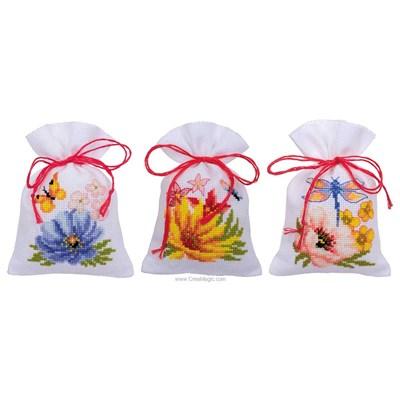 Kit sachet senteur Vervaco fleurs colorées lot de 3 à broder