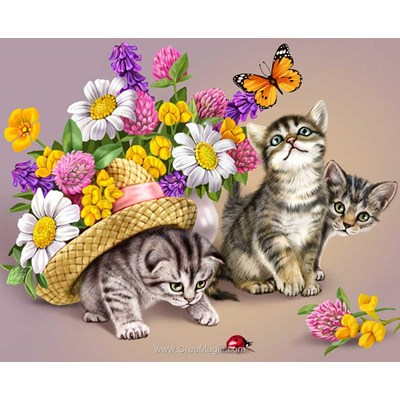 Kit broderie diamant Diamond Painting 3 kittens