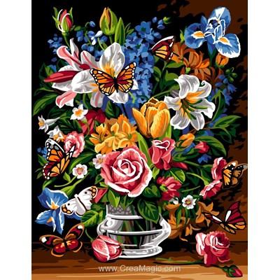 Bouquet glorieux et papillons canevas - SEG