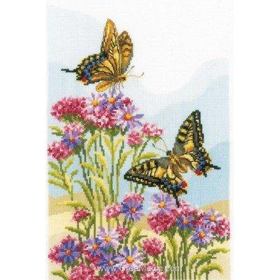 Papillons machaons tableau point de croix - Vervaco