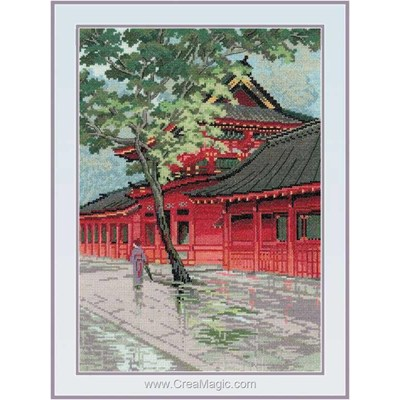 Modèle broderie au point de croix pagode rouge - RIOLIS