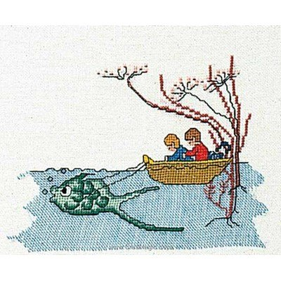 Kit à broder boat with fish sur lin - Thea Gouverneur