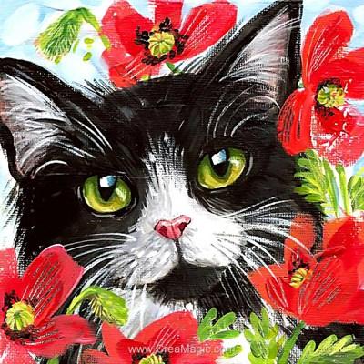 Broderie diamant cat in flowers de Wizardi