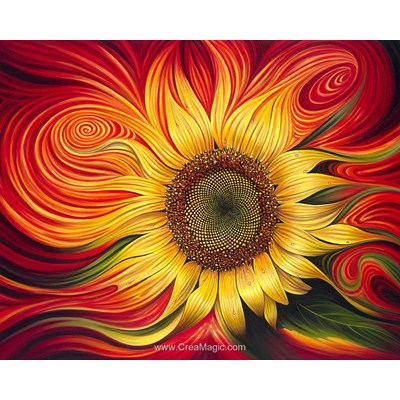 Broderie diamant Diamond Painting burning sunflower