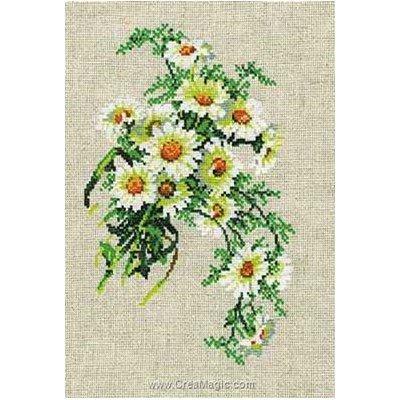 Tableau broderie point de croix RIOLIS bouquet de camomille
