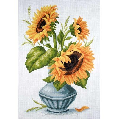 Kit broderie imprimée aida Collection d'art sunflowers in vase