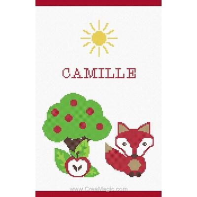 Kit protège carnet de santé bébé Princesse le renard et le pommier à broder