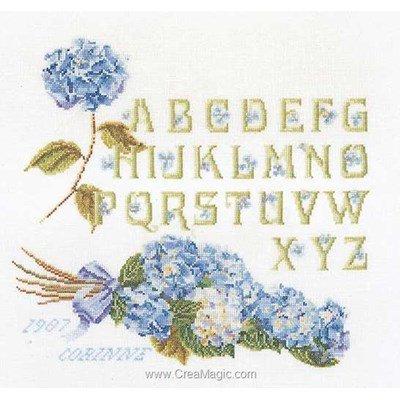 Broderie au point de croix point compté alphabet hortensia sur lin - Thea Gouverneur