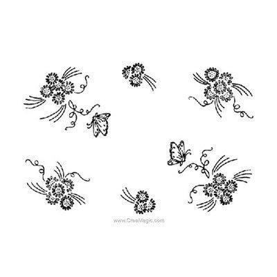 Napperon virevolte de papillons à broder aux points de broderie imprimée - Luc Création