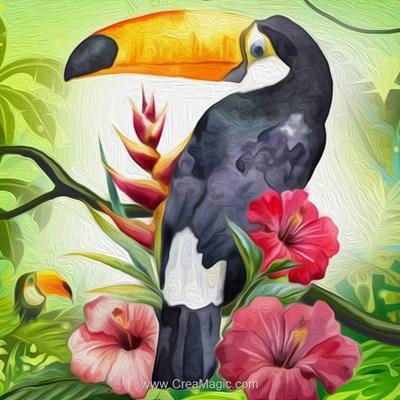 Broderie diamant toucan exotique - Diamond Painting