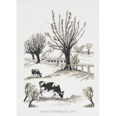 Kit à broder de Permin au point de croix les vaches sur lin
