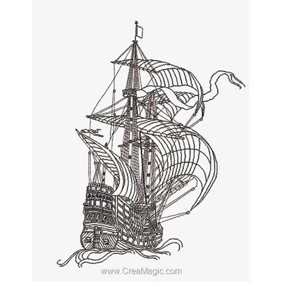Broderie au point compté galleon sur aida de Thea Gouverneur