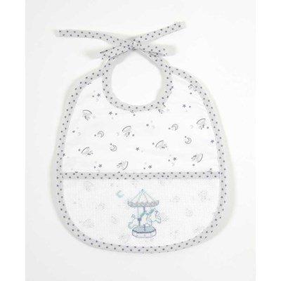 Bavoir bébé DMC à broder baby star 6 mois-gris