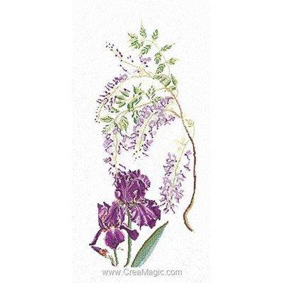 Le point de croix wisteria-iris sur lin de Thea Gouverneur