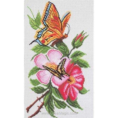 Kit broderie imprimée aida butterfly on a flower - papillons de Collection d'art