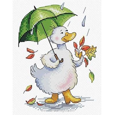 Modèle MP Studia au point de croix promenade de l'oie sous la pluie