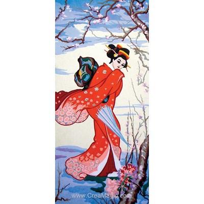 Canevas la japonaise au kimono rouge de Collection d'art