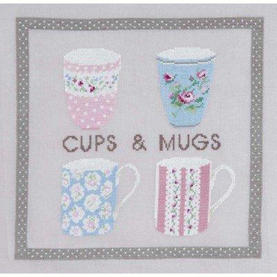 Hydrangea botanique - cups and mugs broderie au point compté - DMC
